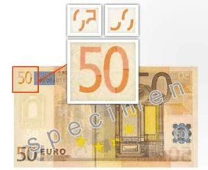 Motivo de Coincidencia en Billete de 50 euros