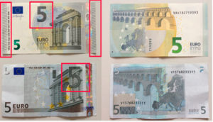 Áreas con relieve en billete de 5 euros