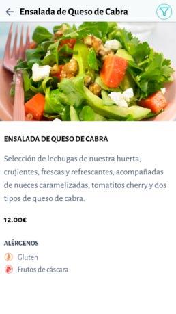 Carta Digital: Información alérgenos.